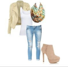 Beige Fall outfit - Love the jacket with the shirt.. not loving those ripped jeans, scarf and shoes, though..