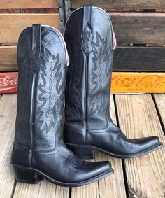 "OLD WEST Cowgirl Black Leather 14"" Western Cowboy Boots Women's 6.5M #20052013 #OldWest #CowboyWestern #Casual"