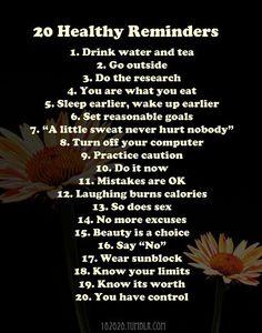 20 Health Reminders