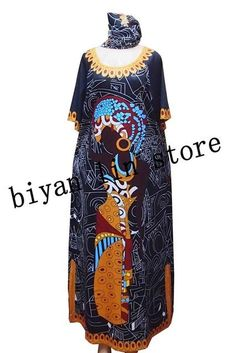 d6524a6f766 3Colors Embrodiery Loose Sleeve Dashiki Long  Grown With Scarf   Women