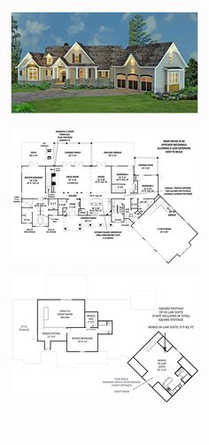 Best Selling House Plan 98267 | Total Living Area: 2498 sq. ft., 3 bedrooms and 3.5 bathrooms. Stone, siding and cedar shakes blend beautifully together to create a unique look for this rustic ranch style home. The full front porch is ideal for peaceful evenings. #bestselling