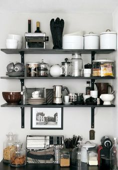might work for the dining room area. too risky for a china display? love the open shelving. might work for the dining room area. too risky for a china display? love the open shelving. Design Room, Küchen Design, Home Design, Design Ideas, Kitchen Shelves, Kitchen Storage, Ikea Shelves, Kitchen Organization, Easy Shelves