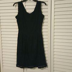 Navy Color Lace V-Neck Dress