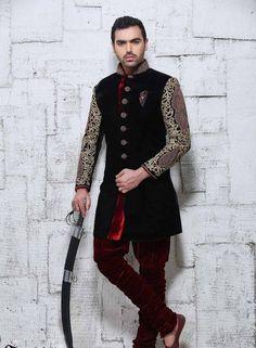 Black designer velvet indo western sherwani for marriages Desi Wedding, Wedding Wear, Trendy Wedding, Wedding Dresses, Indian Man, Indian Style, Indian Groom Wear, Indian Fashion, Mens Fashion