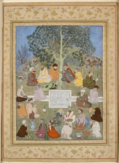 Style: Mughal; Type: Portraiture and court life; Title: 'Gathering of dervishes and drug addicts', north India, 1605-1610