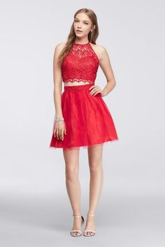 Homecoming Crop Top with Tulle Skirt Style 7870902