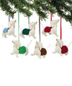 Look at this #zulilyfind! Dachshund Ornament Set #zulilyfinds