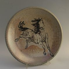 Large platter with horse wood fired salt glaze by MorrisPottery, $275.00