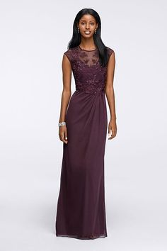 41f786c0407 ... cap sleeves and lace illusion neckline lends an air of retro glamor to  this fit-and-flare gown with flowing matte jersey chiffon skirt. By Emma  Street ...
