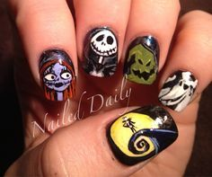 Nightmare Before Christmas Nails ^^this is probably one of my FAVORITE movies   best stuff