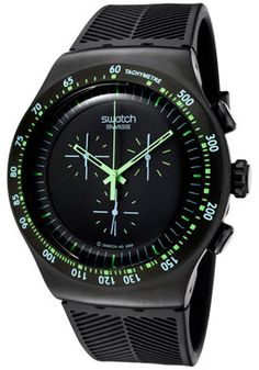 (Limited Supply) Click Image Above: Swatch Yob100 Men's Irony Chronograph Black Dial Black Rubber Watch