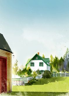 Green Gables by Kim Ji Hyuck Lm Montgomery, Gable House, Tomorrow Is A New Day, Anne With An E, Pretty Drawings, Cottage Art, Anne Shirley, House Drawing, Prince Edward Island