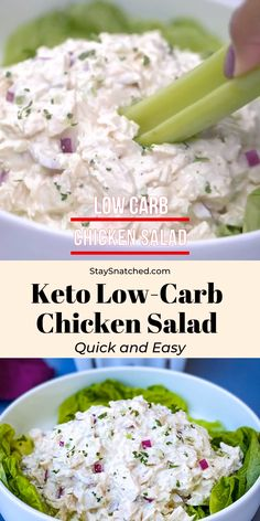 This Easy Keto Low-Carb Chicken Salad is a quick and old-fashioned recipe that is far from boring. It's made with juicy chicken breasts, mayo, celery, and chopped onions. Your lunch meal prep just got easier! Low Carb Chicken Salad, Chicken Salad Recipes, Healthy Salad Recipes, Lunch Recipes, Salad Chicken, Chicken Salad Recipe For Diabetics, Keto Tuna Salad, Ketogenic Recipes, Low Carb Recipes