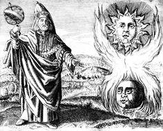 """Daniel Stolcius von Stolcenbeerg - """"Viridarium chymicum"""" (1617) - Hermès Trismégiste tenant une sphère armillaire dans la main droite; dans la partie droite de l'image, le soleil & la lune, symboles alchimiques de la polarité."""