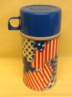 """Vintage 1970""""s Thermos Stripes & Stars Red White & Blue Thermos Division NICE"""