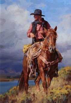 Illustration/Painting by Jason Rich, Cowboy Artist Cowgirl And Horse, Cowboy Art, Westerns, West Art, Le Far West, Country Art, Equine Art, Horse Art, Native American Art