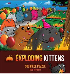 Exploding Kittens Time to Pawty puzzle features conga line kittens from the highly strategic, kitty-powered card game version of Russian Roulette created by Ela Best Cat Litter, Litter Box, Exploding Kittens Card Game, Kids Bean Bags, Kitten Care, Cat Treats, Baby Clothes Shops, Cat Gifts, Cool Cats