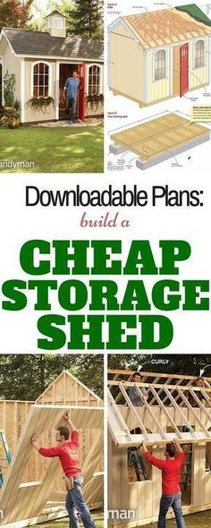 How to Build a Cheap Storage Shed: Printable plans and a materials list let you build our dollar-savvy storage shed and get great results. http://www.familyhandyman.com/sheds/how-to-build-a-cheap-storage-shed/view-all #buildashedcheap