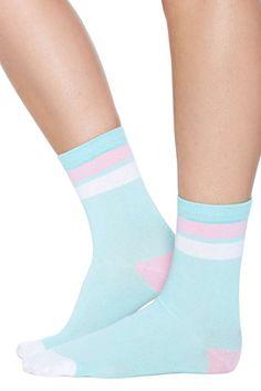 Kawaii Stripe Crew Sock - Mint