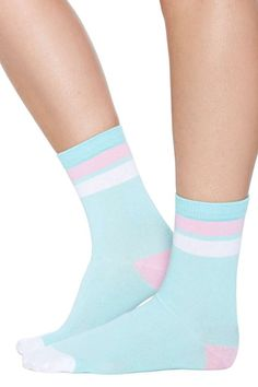 Kawaii Stripe Crew Sock - Mint