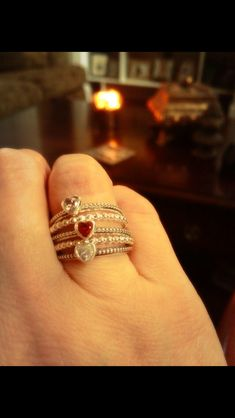 Pandora Rings Hearts Red