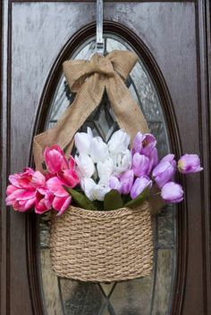 Spring Inspiration-Front Door Hanging.  Great alternative to a traditional wreath.