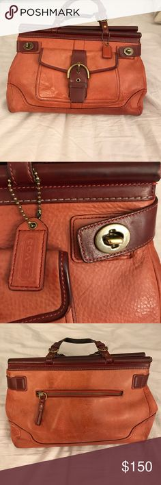 Coach Leather Bag with Top handles Beautiful leather Coach Handbag. The leather is a rich reddish/ cognac color- it has faded with love & wear. Photo 7 shows front pocket with buckle open and original leather color is visible. The leather accents are a maroon color. Maroon/dark red lining has traditional coach logo in black. Back zipper pocket. Bottom measures about 13 inches in length. About 9 inches in height. About 4 inches in depth. Inside features two zipper pockets. Fits plenty…
