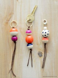 DIY Key Fobs and Bag Charms- plus t hey float...so no sunken keys... great for the boat/jet ski or car/house keys