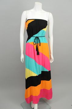 Multi-Color Blocked Strapless Maxi Dress #sageclothing