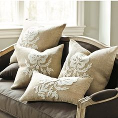 Burlap Crewel Damask Pillow Covers with Inserts