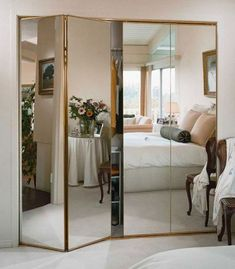 In the past, when talking about bifold closet doors , the first thing that comes to mind is the type of bifold doors with slats and knob. Mirrored Wardrobe Doors, Mirror Closet Doors, Mirror Door, Closet With Mirror, Mirrored Bifold Closet Doors, Entry Doors, Best Wardrobe Designs, Sliding Door Wardrobe Designs, Wardrobe Ideas