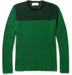 MarniTwo-tone Wool and Cashmere-Blend Sweater