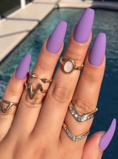 A manicure is a cosmetic elegance therapy for the finger nails and hands. A manicure could deal with just the hands, just the nails, or Light Purple Nails, Purple Acrylic Nails, Best Acrylic Nails, Metallic Nails, Black Nails, Matte Black, Nails Turquoise, Light Nails, Bright Purple