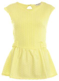 Miss Selfridge Lemon Textured Peplum Top