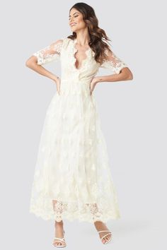 Na Kd Party Delicate Flower Lace Maxi Dress White Boho Wedding Dress, Wedding Wear, Wedding Dresses, Cute Dresses, Casual Dresses, Formal Dresses, White Lace Maxi Dress, Trends, Models