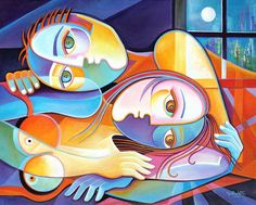 Large Original Cubist Modern Oil Painting canvas Marlina Vera Lovers in the Moonlight Contemporary Abstract Art Picasso Style Romantic Art Visage, Picasso Style, Cubist Art, Modern Oil Painting, Contemporary Abstract Art, Western Art, Types Of Art, Figurative Art, Oeuvre D'art