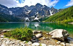 Polish Tatras - lake, beautiful, sky, reflection, emerald, rocks, Poland…