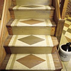 Basement stairs Stencil the Stairs Personalize ordinary wood stairs with stencils. These stair treads were painted with homemade stencils using floor-and-deck enamel. For safety, avoid high-gloss paints and finishes that may be slippery. Stenciled Stairs, Stenciled Floor, Painted Stairs, Wood Stairs, Painted Floors, Rustic Stairs, Rustic Basement, Painted Wood, Basement Stairway