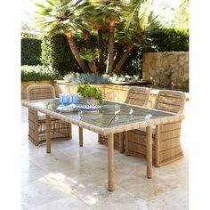 Rafter Rectangular Outdoor Dining Table (5,235 BAM) ❤ liked on Polyvore featuring home, outdoors, patio furniture, outdoor tables, rectangle outdoor table, outdoor garden furniture, outdoor garden table and rectangle patio table