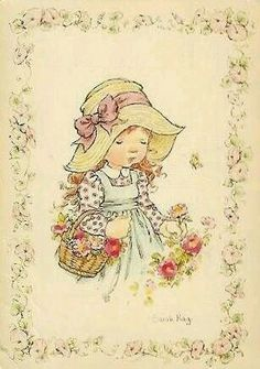 Flores  e  amores. Sarah Key, Retro Images, Anne Of Green, Vintage Drawing, Sweet Pic, Holly Hobbie, Australian Artists, Cute Illustration, Vintage Cards