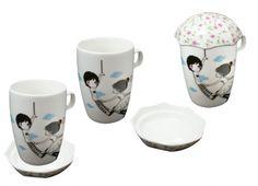 TAZZA CON COPERCHIO OMBRELLO. Tazza con manico in ceramica di colore bianco con stampa all'esterno e coperchio a forma di ombrello.