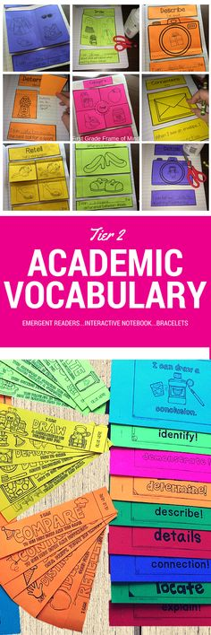 You can be sure to teach Tier 2 Academic Vocabulary easily and systematically all year long! K-3 need engaging activities that take little time to prep and only minutes to teach every week. Even a lesson planning guide is included with 1) emergent readers to aid discussions and rereads; 2) fun, engaging interactive notebook activities; 3) printable bracelets for school to home connections.