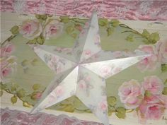 pictures of shabby chic christmas decor | Chic HP Roses Large Holiday STAR Shabby Christmas from ...