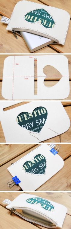 How to Sew Felt Zipper Pouch. Step by Step Photo Sewing Tutorial. www.handmadiya.co...