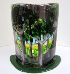 Very unique...I love this piece.  The Woods Fused Glass Candleholder by JanuaryMayDesigns, $65.00