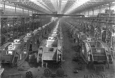 British Mark IV tanks in mass production at the Oldbury Carriage Works in WWI. 1918. [945 × 641] - Imgur