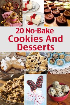 20 Easy No Bake Cookies Desserts And Snacks Recipes Cookie Recipes, Snack Recipes, Dessert Recipes Mini Desserts, Easy No Bake Desserts, Best Dessert Recipes, Cookie Desserts, Candy Recipes, Baking Recipes, Cookie Recipes, Delicious Desserts, Snack Recipes