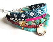 Bohemian hippie bracelet - teal pink and turquoise beads and friendship bracelet - gypsy style - multiple strands