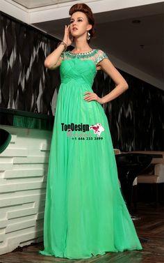 Wholesale Vestidos De Fiesta 2017 Brand New Evening Party Gown Scoop Neck Beading Green Chiffon Prom Dresses