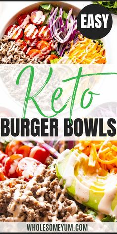 A keto burger in a bowl is an easy, quick way to enjoy burgers without the carbs. These loaded burger bowls are ready in 15 minutes and brimming with toppings. #wholesomeyum Ketogenic Recipes, Low Carb Recipes, Beef Recipes, Real Food Recipes, Healthy Recipes, Burger In A Bowl, Recipe With 10 Ingredients, Keto Burger, Main Dish Salads